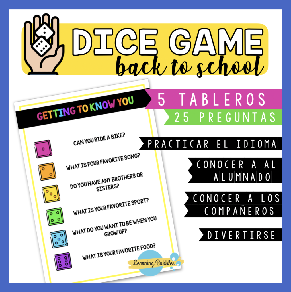 back to school dice game