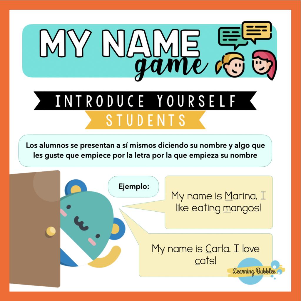 name game presentarse en inglés